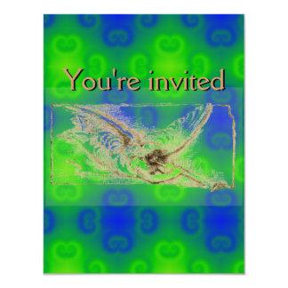 """Modelo abstracto azul y verde enrrollado invitación 4.25"""" x 5.5"""""""