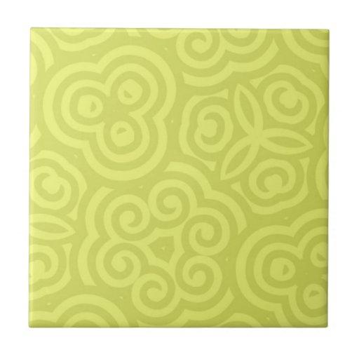 Modelo abstracto chartreuse azulejo cuadrado pequeño