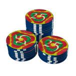 Modelo abstracto coloreado brillante juego de fichas de póquer