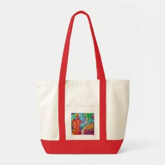 Modelo abstracto colorido bolsa tela impulso