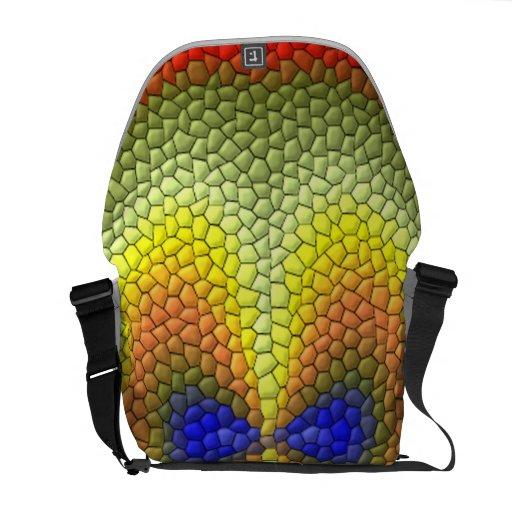 Modelo abstracto colorido de la teja bolsas messenger