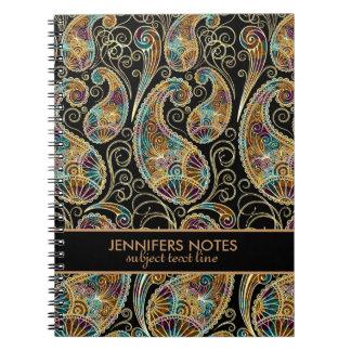 Modelo abstracto colorido de Paisley del vintage Libros De Apuntes