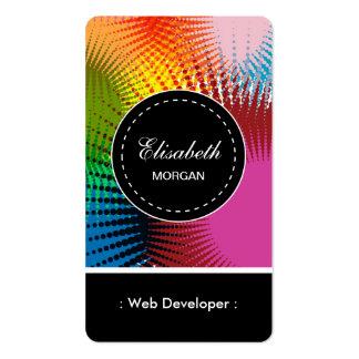 Modelo abstracto colorido del desarrollador de Web Tarjetas De Visita