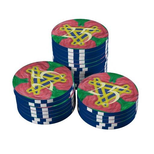 modelo abstracto colorido juego de fichas de póquer