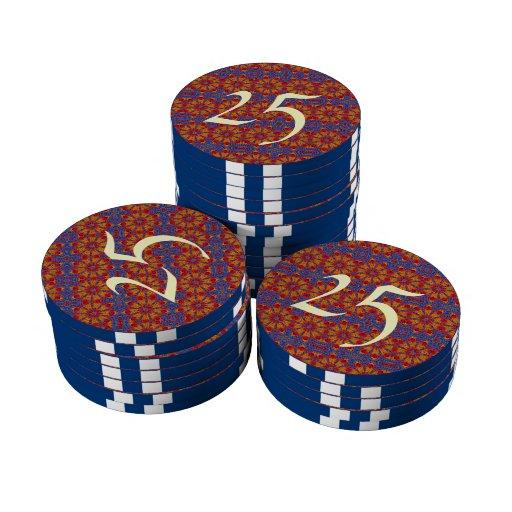 Modelo abstracto colorido fichas de póquer
