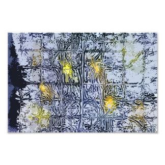 Modelo abstracto con la cera y la tinta - amarillo arte con fotos