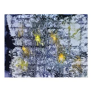 Modelo abstracto con la cera y la tinta - amarillo tarjetas postales