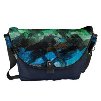 Modelo abstracto de la acuarela del verde azul bolsas messenger