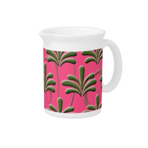 Modelo abstracto de la hoja del rosa y del verde jarras para bebida