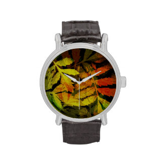 Modelo abstracto de las hojas modernas brillantes relojes