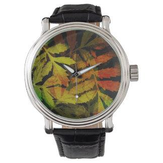 Modelo abstracto de las hojas modernas brillantes relojes de pulsera