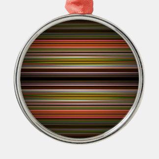 Modelo abstracto de las rayas adorno redondo plateado
