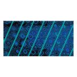 Modelo abstracto de los azules diagonales tarjeta fotográfica personalizada