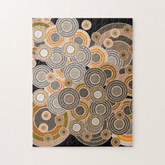 Modelo abstracto de los círculos concéntricos rompecabezas con fotos
