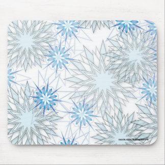 Modelo abstracto de los copos de nieve azules herm mouse pads