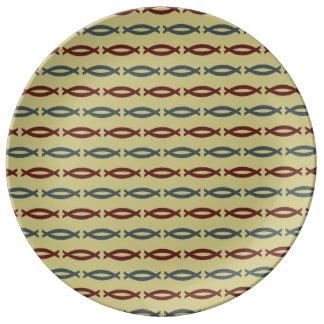 Modelo abstracto de los pantalones de color caqui platos de cerámica