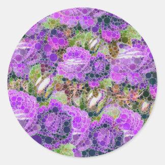 Modelo abstracto de los rosas púrpuras pegatina redonda