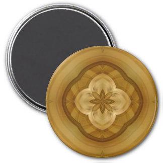 modelo abstracto de madera del círculo de la flor imán redondo 7 cm