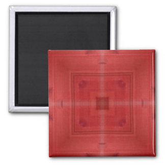 Modelo abstracto de madera rojo imán cuadrado