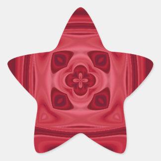 Modelo abstracto de madera rojo pegatina en forma de estrella