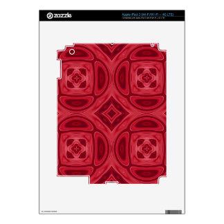 Modelo abstracto de madera rojo pegatinas skins para iPad 3