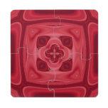 Modelo abstracto de madera rojo posavasos de puzzle