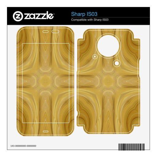 Modelo abstracto de madera skins para elSharp IS03