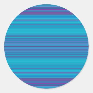 Modelo abstracto de moda de las rayas azules pegatina redonda
