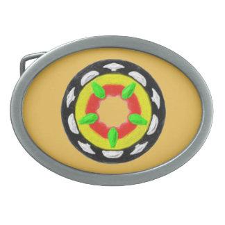 Modelo abstracto de moda multicolor hebilla de cinturón oval