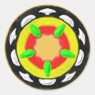 Modelo abstracto de moda multicolor pegatina redonda