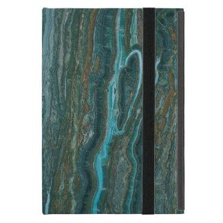 Modelo abstracto de piedra de mármol verde azul y iPad mini coberturas