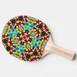 Modelo abstracto decorativo colorido pala de ping pong