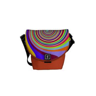 Modelo abstracto del círculo en colores multi bolsas de mensajería