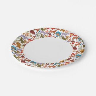 Modelo abstracto del niño y de los animales platos de papel