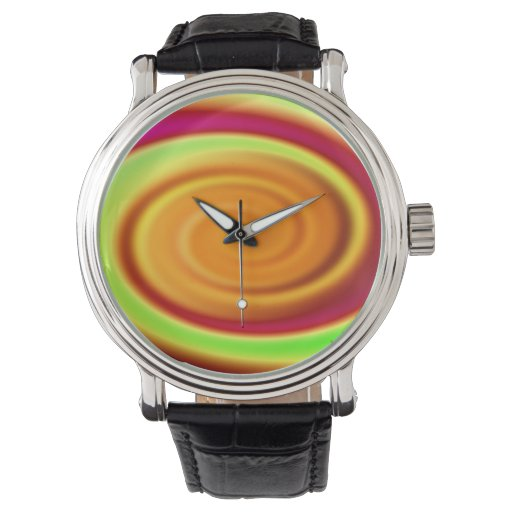 Modelo abstracto del remolino del arco iris reloj de mano