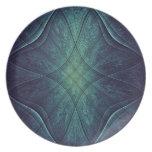 Modelo abstracto del verde azul platos para fiestas