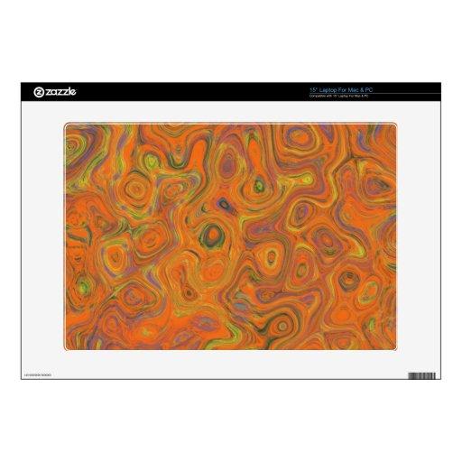 Modelo abstracto en remolino del naranja, de la pú portátil skins