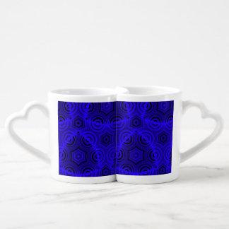 Modelo abstracto feo azul tazas para enamorados