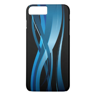 Modelo abstracto moderno de la onda azul funda iPhone 7 plus
