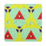 Modelo abstracto multicolor posavasos de puzzle