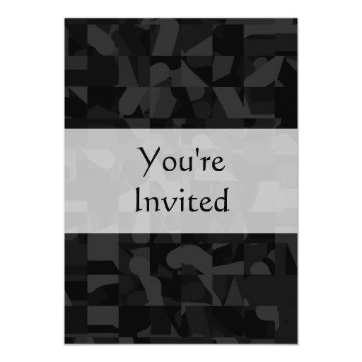 """Modelo abstracto negro invitación 5"""" x 7"""""""