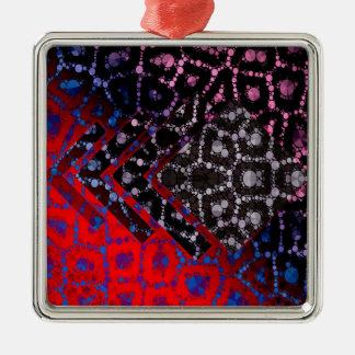 Modelo abstracto psicodélico del guepardo adorno navideño cuadrado de metal