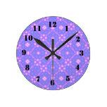 modelo abstracto púrpura azul reloj de pared