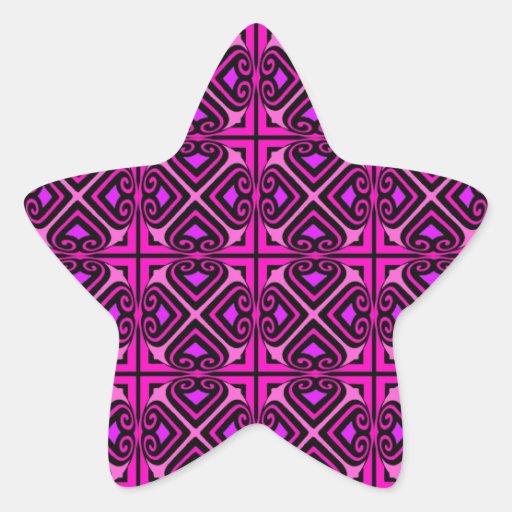 Modelo abstracto púrpura negro rosado de Nouveau Colcomanias Forma De Estrellaes Personalizadas
