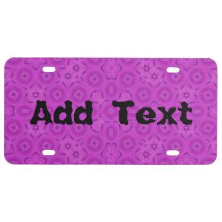 modelo abstracto púrpura placa de matrícula