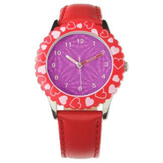 Modelo abstracto púrpura relojes de mano