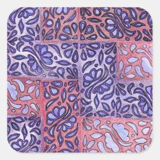 Modelo abstracto púrpura y rosado calcomania cuadradas personalizadas
