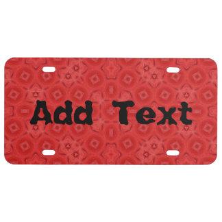 Modelo abstracto rojo placa de matrícula
