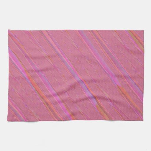 Modelo abstracto rosado diagonal toallas de cocina