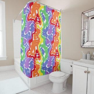 Modelo abstracto salvaje del arco iris cortina de baño